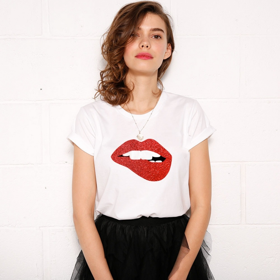 T-Shirt Red Glitter Martina Big Blanc