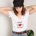 T-Shirt Col V Vita Blanc