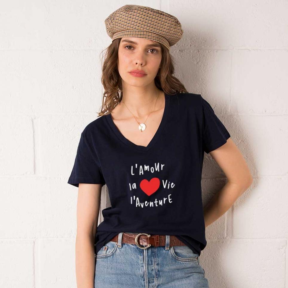 T-shirt Col V Vita Bleu