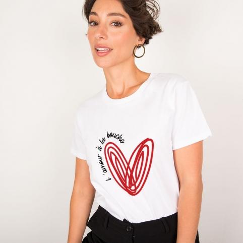 White T-Shirt L'amour à la Bouche