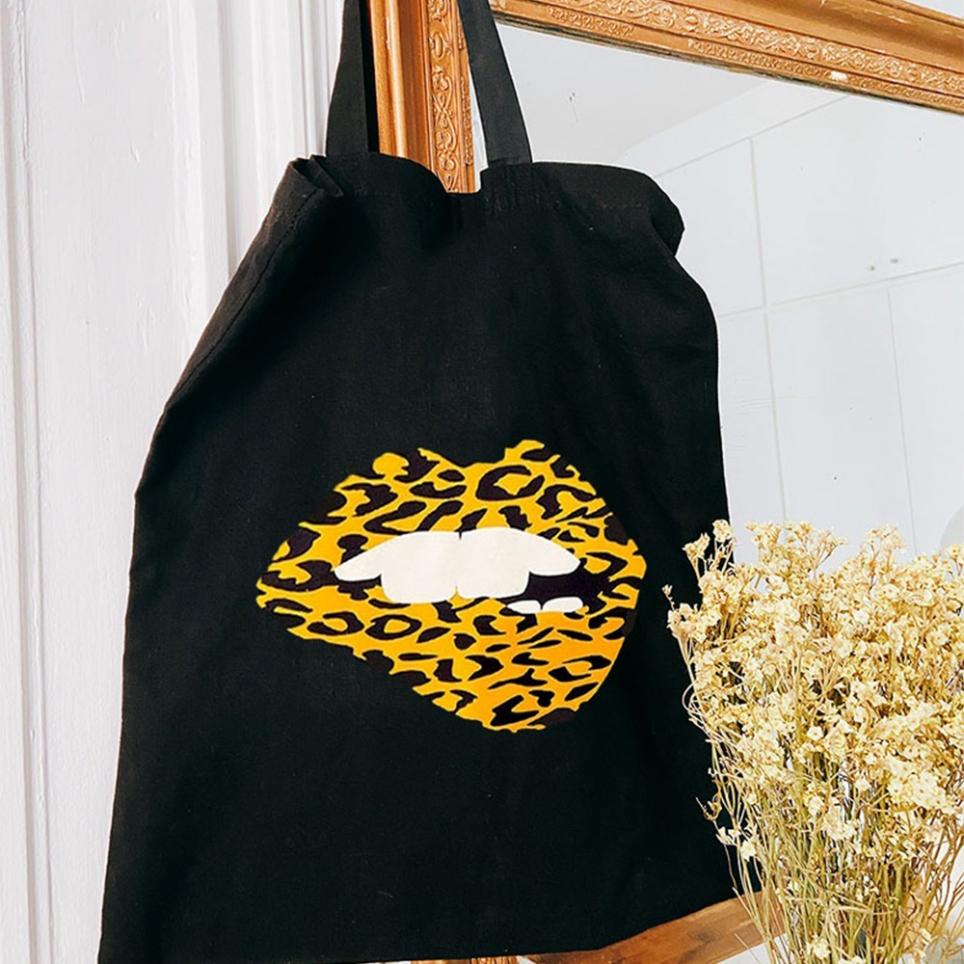 Black Tote Bag Leopard Martina