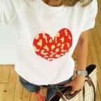 T-Shirt Coeur Léopard Blanc by LesFutiles