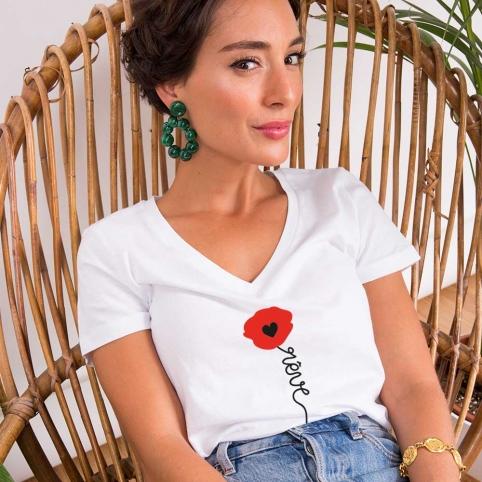 T-Shirt Col v Papavero Blanc