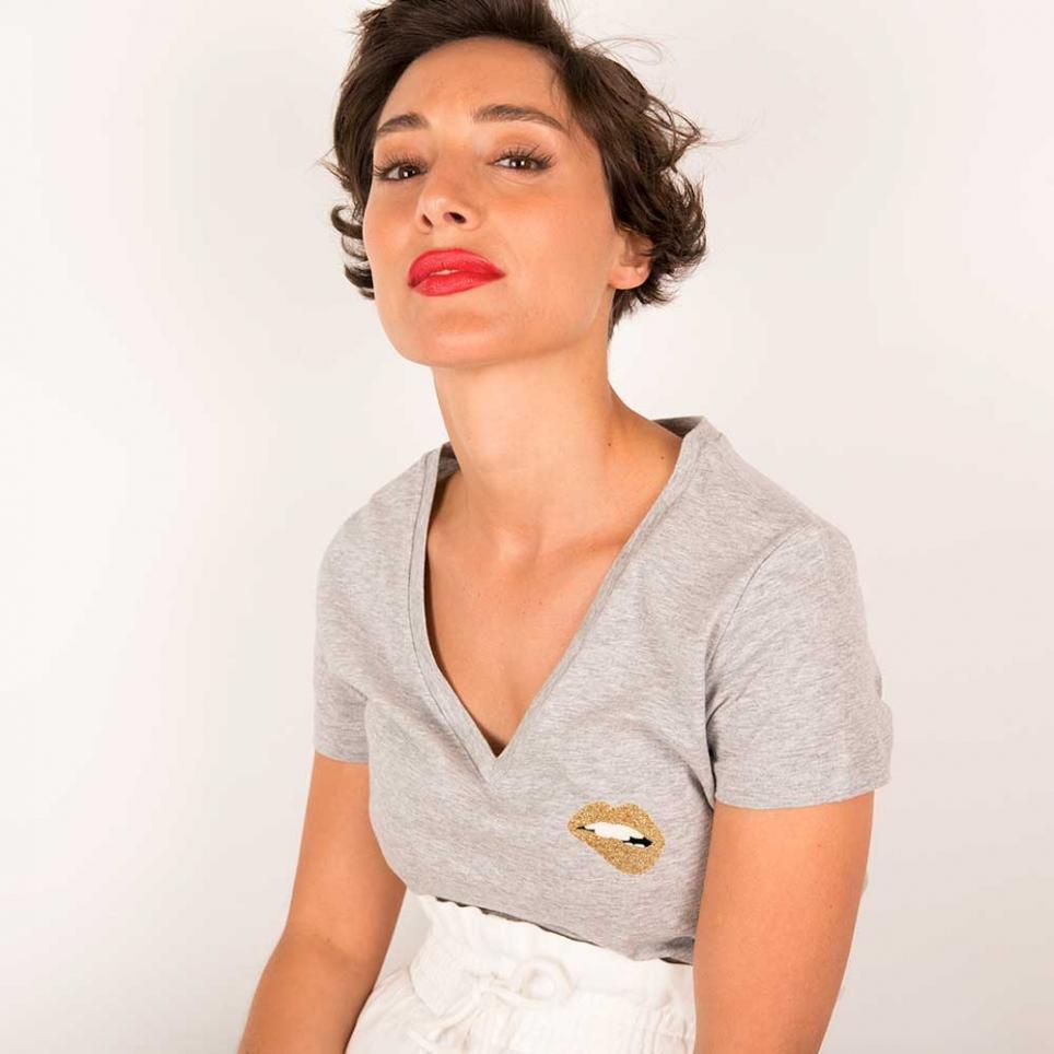 T-shirt col v Martina Gold Gris