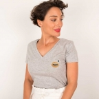 T-shirt col v Cindy Gold Gris