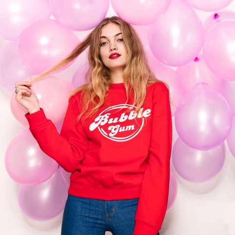 "Sweat-shirt rouge ""Bubble Gum"""