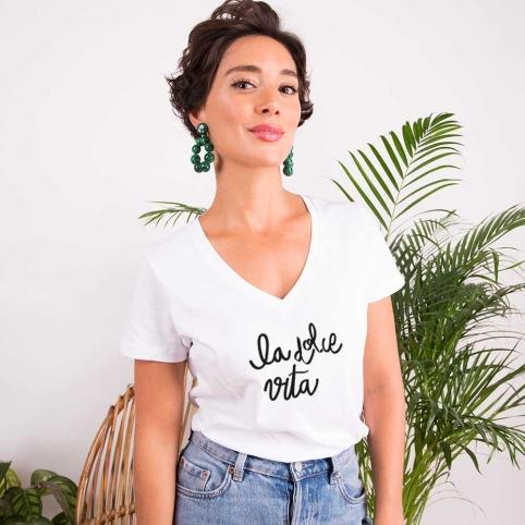 White v neck T-Shirt La Dolce Vita