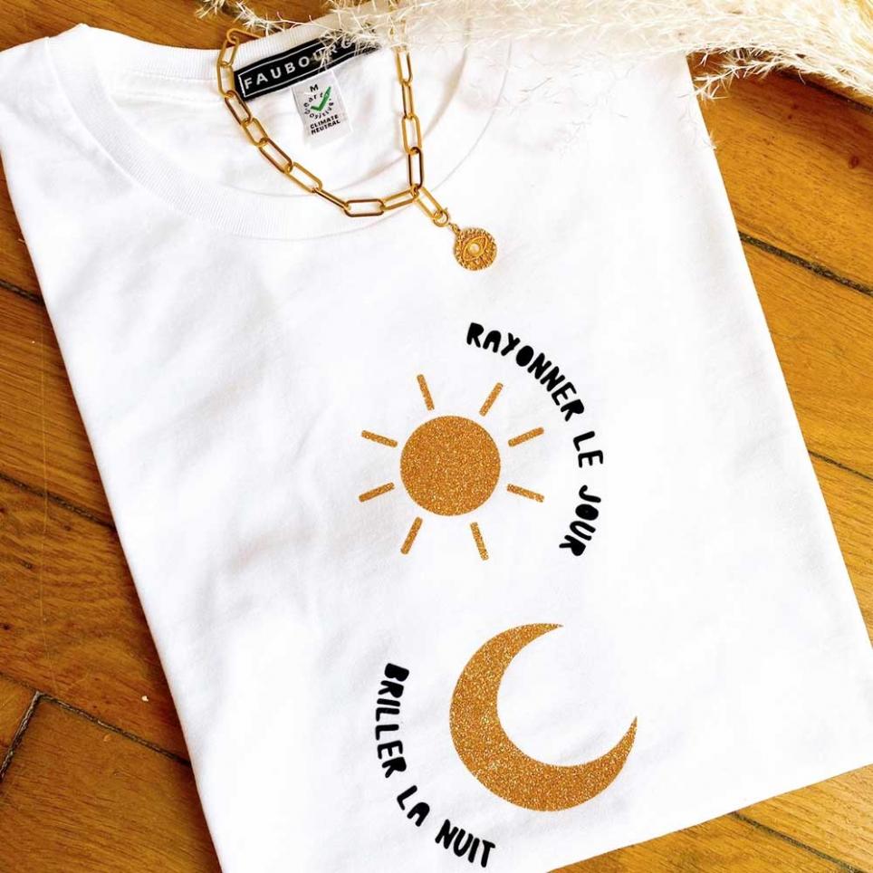 T-shirt Sole Luna Blanc