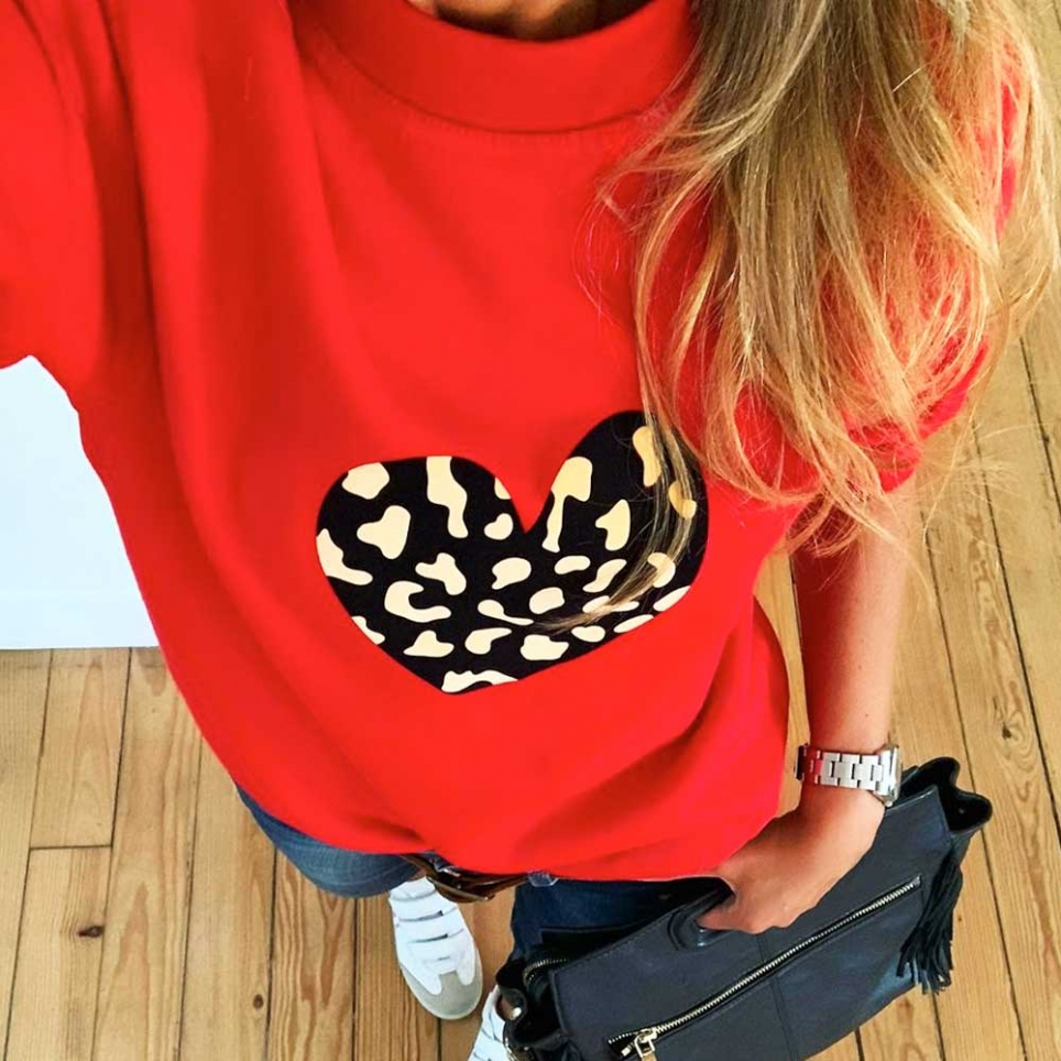 Red sweatshirt leopard heart by LesFutiles