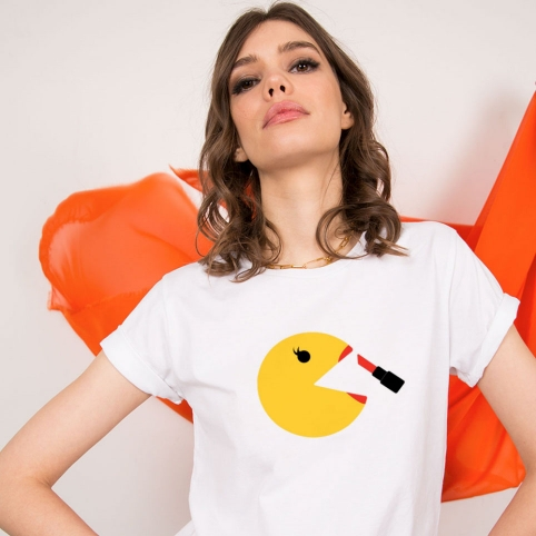 White T-shirt Pacwoman