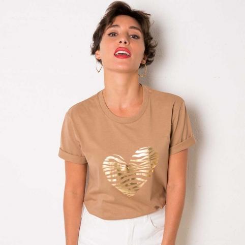 Camel T-Shirt Zebra Heart
