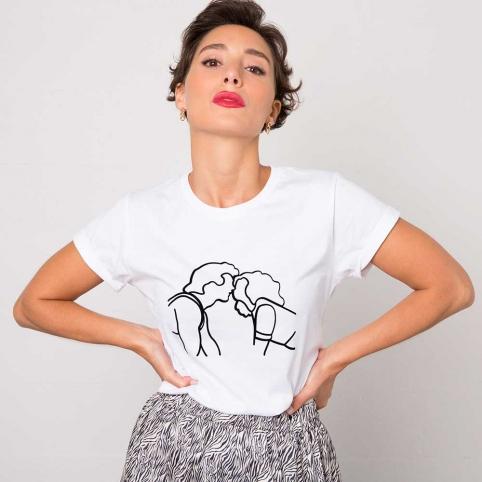 White T-Shirt Kiss DD