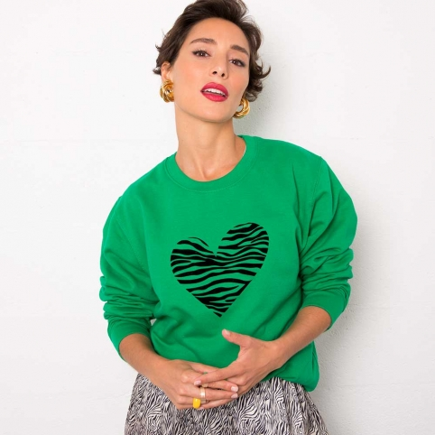 Green Sweatshirt Zebra Heart