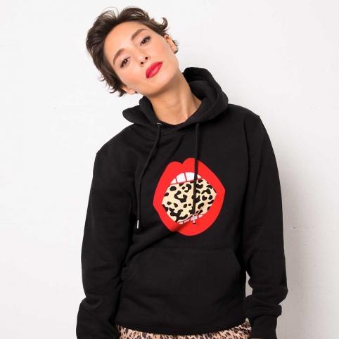 Black Sweatshirt Leonie Lips