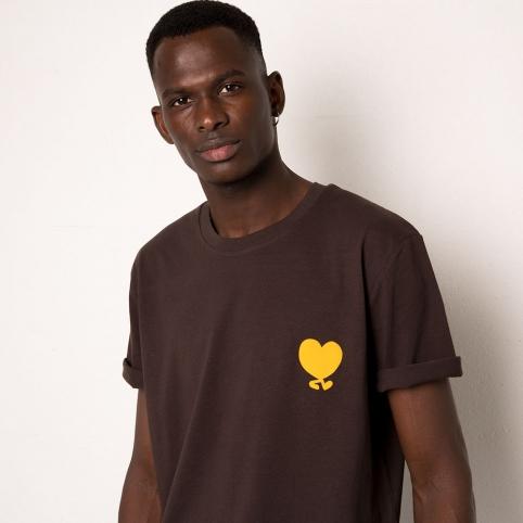 T-Shirt Coeur Riccardo Marron Homme