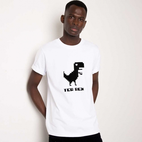 T-Shirt T-Rex Blanc Homme