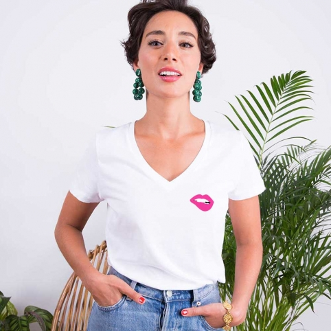 T-shirt Col v Blanc Martina Rose