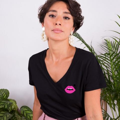 Black v neck T-shirt Pink Cindy