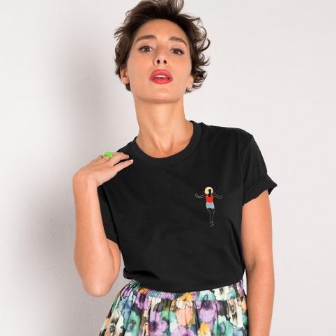 T-Shirt Noir Broderie Dance Baby