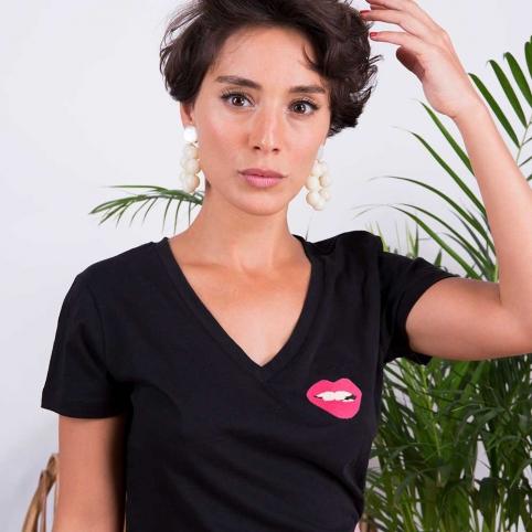 T-shirt Col v Noir Martina Rose
